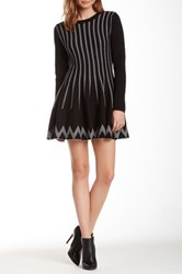 J.O.A. Long Sleeve Jacquard Swing Dress Black