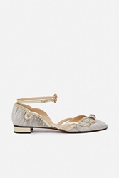 O Jour Loira Platinum Flat Nappa Shoes Grey Velvet