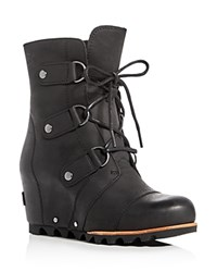 Sorel Joan Of Arctic Lace Up Wedge Booties Black