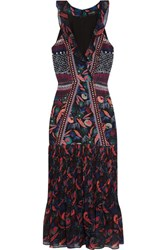 Saloni Amy Printed Silk Chiffon Midi Dress Black