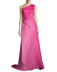 Monique Lhuillier One Shoulder Gazar Evening Gown Fuchsia Pink