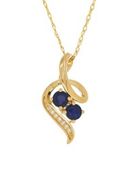 Lord And Taylor Diamond Sapphire 14K Yellow Gold Pendant Necklace Blue