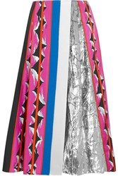 Emilio Pucci Lame Paneled Printed Silk Blend Twill Midi Skirt Pink