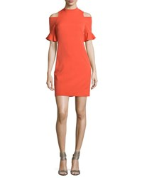 Rebecca Taylor Crepe Cold Shoulder Sheath Dress Koi Fish Koifish