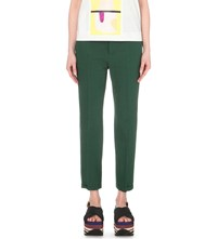 Marni Cropped Linen Blend Trousers Spherical Green