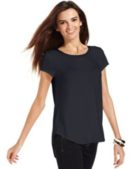 Alfani Short Sleeve High Low Tee Navy