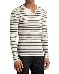 John Varvatos Collection Linen Stripe Split Crewneck Sweater China White