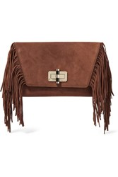 Diane Von Furstenberg Voyage Boho Fringed Suede Clutch Light Brown
