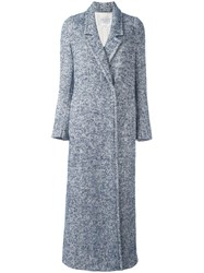 Forte Forte Long Herringbone Overcoat Blue
