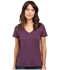 Mod O Doc Slub Jersey Short Sleeve V Neck Tee Aubergine Women's Short Sleeve Pullover Purple
