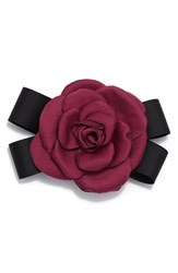 Cara Rose And Black Bow Pin Burgundy