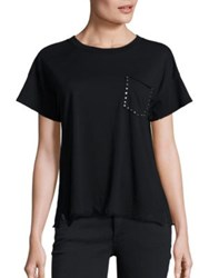 Rag And Bone Cotton Studded Pocket Tee Black