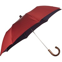 Barneys New York Men's Micro Dot Folding Umbrella Red