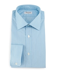 Charvet Striped Barrel Cuff Dress Shirt Teal