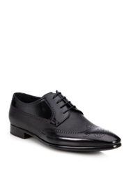 Giorgio Armani Mixed Media Leather Wingtip Derby Shoes Black
