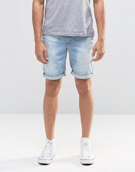 Blend Of America Twister Slim Denim Shorts Distressed Light Blue