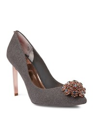 Ted Baker Peetch Broach Embellished Pumps Grey
