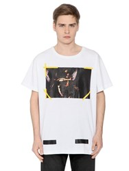 Off White 7 Opere Printed Cotton Jersey T Shirt