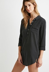 Forever 21 Polka Dot Popover Nightdress Black Cream