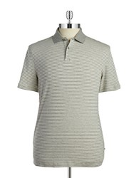 Black Brown Slim Fit Striped Ice Cotton Polo Pale Grey