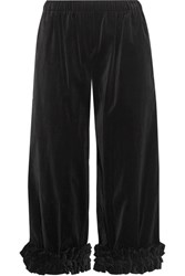 Comme Des Garcons Cropped Ruffle Trimmed Cotton Velvet Wide Leg Pants Black