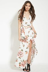 Forever 21 Floral Print Maxi Skirt Cream Pink