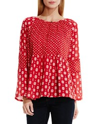 Vince Camuto Madras Foulard Mix Print Peasant Blouse Red