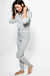 Boohoo Fleece Hooded Sweater And Jogger Lounge Set Grey