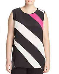 Vince Camuto Plus Diagonal Stripe Tank Rich Black