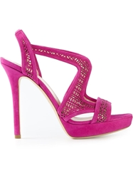 Giorgio Armani Curved Perforated Sandal Pink And Purple