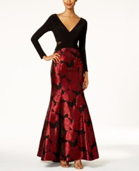 Xscape Evenings Illusion Floral Brocade Mermaid Gown Black Red