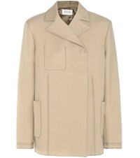 Wood Wood Melinda Cotton And Virgin Wool Blend Twill Jacket Beige