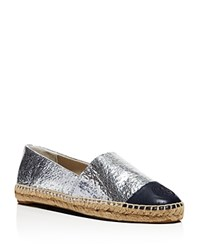 Tory Burch Metallic Color Block Espadrille Flats Silver Tory Navy
