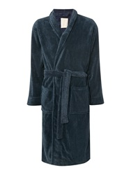 Linea Marl Fleece Mens Robe Navy