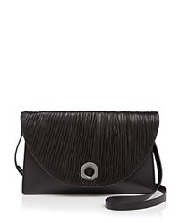 Halston Heritage Grace Ruched Oversize Clutch Black