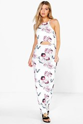 Boohoo Strappy Floral Cut Out Maxi Dress Multi