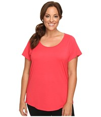 Lucy Extended Short Sleeve Workout Tee Passion Pink Women's Workout Red