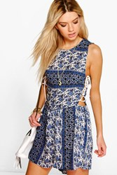 Boohoo Blue Paisley Print Lace Up Side Playsuit Blue