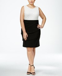 Connected Plus Size Lace Tiered Sheath Dress Black