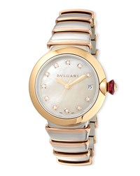 Bulgari 36Mm Lvcea Watch With Diamonds Two Tone Silver Bvlgari