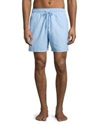 Vilebrequin Moorea Coral And Fish Water Reactive Swim Trunks Sky Blue Gray