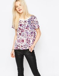 Jdy Short Sleeve Rib Neck T Shirt In Floral Print Wh1 White