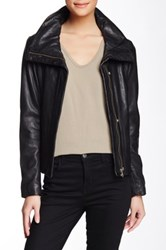 Soia And Kyo Christa Spread Collar Leather Moto Jacket Black