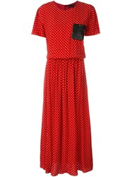 Love Moschino Polka Dot Print Midi Dress Red