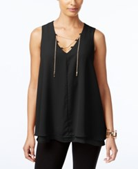 Ny Collection Chain Lace Up Top Black