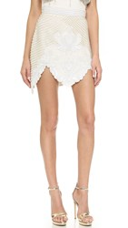 Rodarte Hand Beaded Skirt White Gold