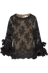 Marchesa Silk Organza Trimmed Lace Blouse Black