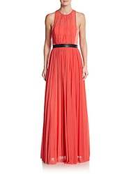 Abs By Allen Schwartz Faux Leather Banded Chiffon Gown Coral