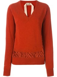 N 21 Nao21 Lace Insert V Neck Jumper Yellow And Orange