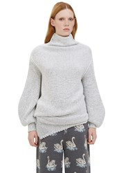 Stella Mccartney Oversized Asymmetric Bi Colour Knit Sweater White